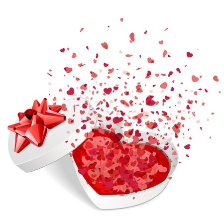 moño rosa: Caja de regalo presente abierta con mosca corazón ilustración vectorial día de San Valentín