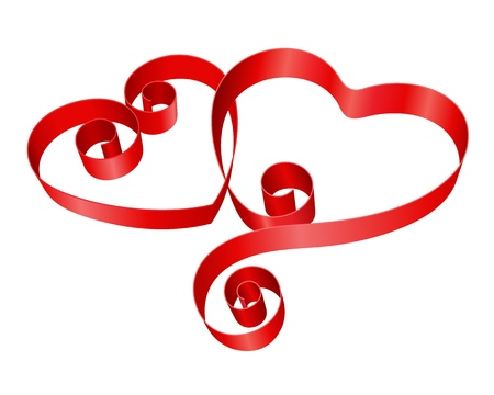 pink ribbons: Two red hearts from ribbon Valentine day vector background Illustration