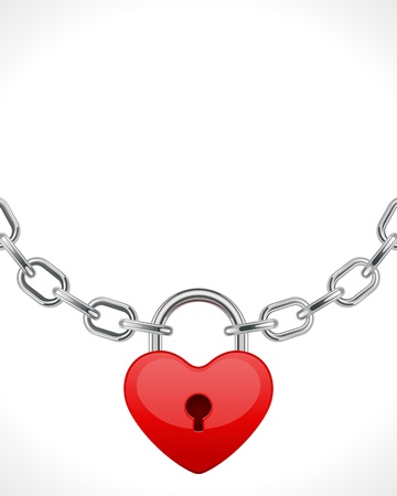 Red shiny heart lock on chain Valentine day vector background  Vector