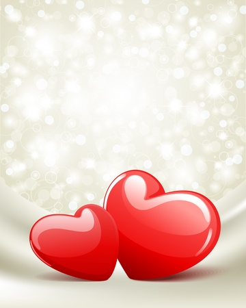 Two red glossy heart Valentine day vector background  Vector
