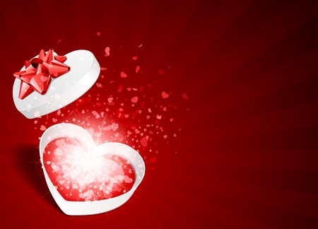 open gift box: Heart gift present with fly hearts Valentine day vector background