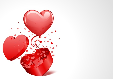 Heart gift open with fly hearts and balloon Valentine day vector  background Vector