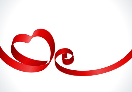 Heart from red ribbon Valentine day vector background Vector