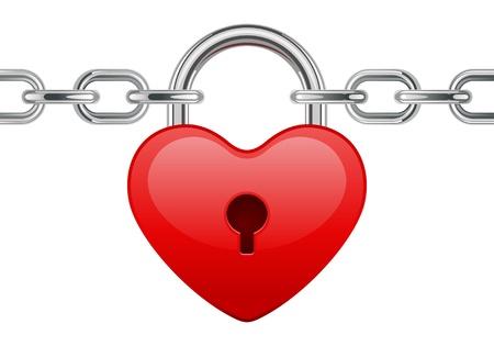 Red shiny heart lock shape on chain vector illustration  Vector