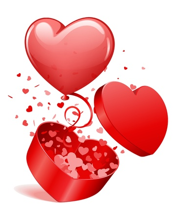 Heart gift open with fly hearts and balloon Valentine day vector illustration for design  Stock Vector - 11895285