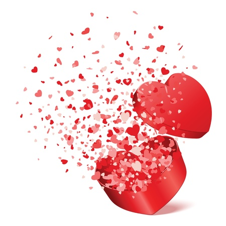 Heart gift present with fly hearts Valentine day vector illustration for design