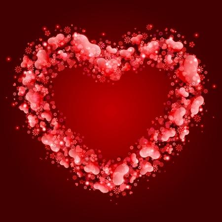 Carte de la Saint-Valentin avec des coeurs de fond vectoriel cadre Banque d'images - 11895330