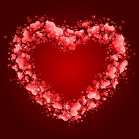 glass heart: Valentine day card with hearts frame vector background