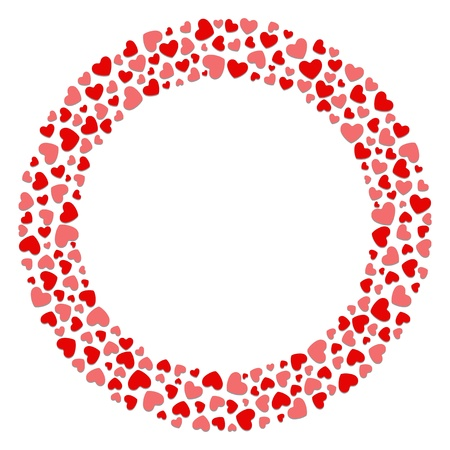 Round hearts frame Valentine day or Wedding vector background Vector
