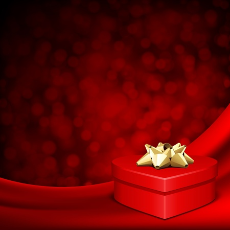 Heart red shiny gift on silk with light Valentine day vector background Vector