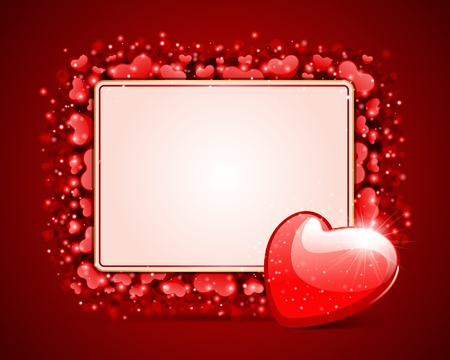 Hearts with card Valentine day vector background Stock Vector - 11895343