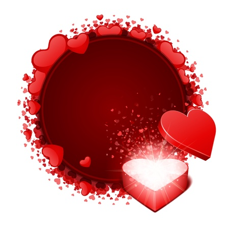 explotion: Open heart gift and card with hearts Valentine day vector background  Illustration
