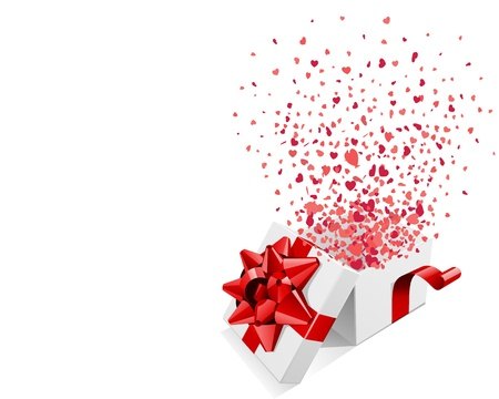 open present: Open gift with flying hearts confetti Valentine day vector background  Illustration