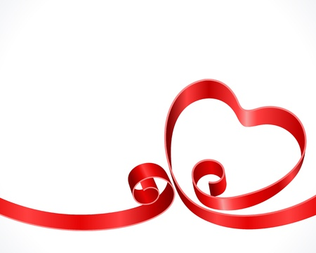Heart from ribbon Valentine day background Vector