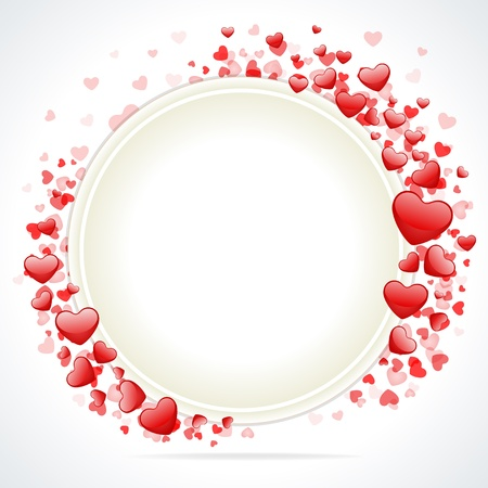 round frame: Hearts with card frame Valentine day vector background