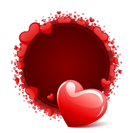 Heart with card frame Valentine day vector background Vector
