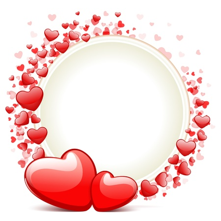 Hearts with card frame Valentine day vector background