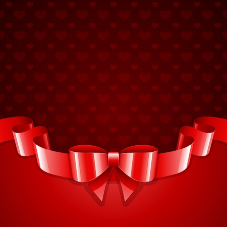 bows and ribbons: Valentine day vector background hearts with ribbon  Illustration