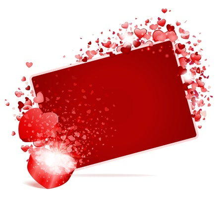 Hearts with card frame and open gift Valentine day vector background  Stock Vector - 11895559