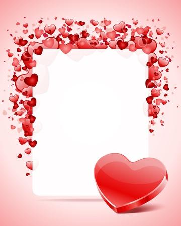Hart met kaart kader Valentine day vector achtergrond