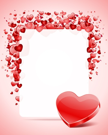 shiny hearts: Heart with card frame Valentine day vector background