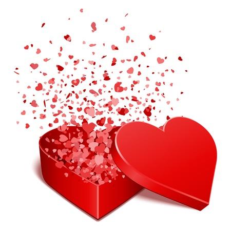 saint valentin coeur: Pr�sente cadeau Coeur avec des coeurs mouche Valentine illustration vectorielle jour pour la conception