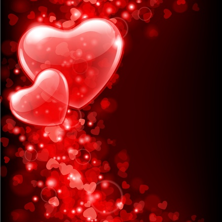 shiny hearts: Valentine day vector background with abstract hearts
