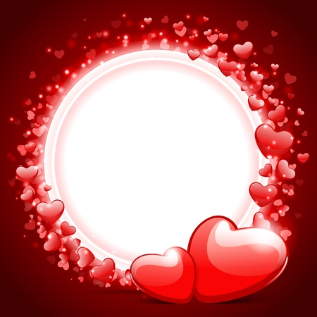 Valentine day vector background with two hearts  Vector