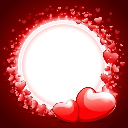 hintergrund liebe: Valentinstag Vektor Hintergrund mit zwei Herzen Illustration