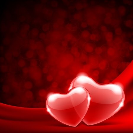 Two hearts on silk with light Valentine day vector background  Vector