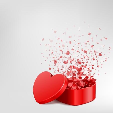 dessin coeur: Vecteur de fond avec un cadeau � c?ur ouvert et voler coeurs