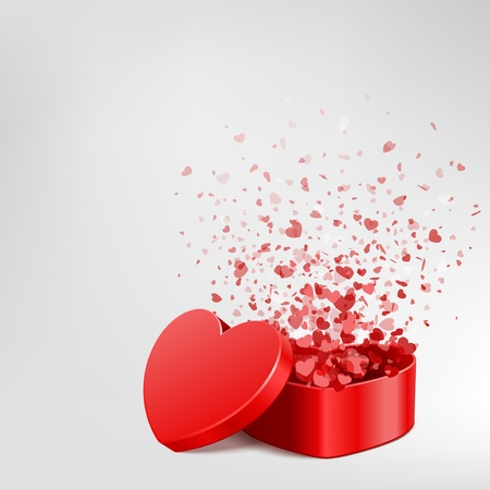 shiny hearts: Vector background with open heart gift and fly hearts  Illustration
