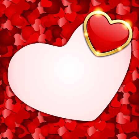 Red hearts confetti Valentine day or Wedding vector background Vector