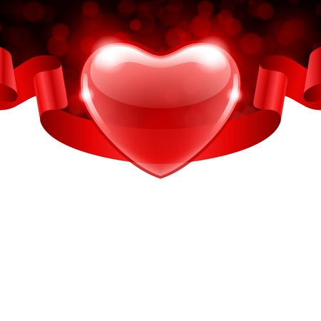 Valentine day vector background heart with ribbon with bokeh Stock Vector - 11895632