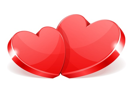 two hearts: Two red hearts vector illustration as design element Illustration