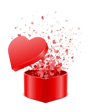 Heart gift present with fly hearts Valentine day vector illustration for design  Vector