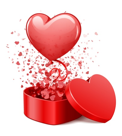 heart gift box: Heart gift present with fly hearts and balloon vector illustration for design