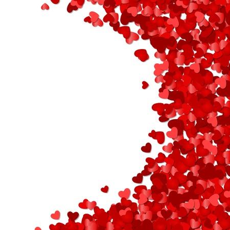 romanticismo: Red confetti cuori di San Valentino giorno o vettore sfondo Wedding Vettoriali