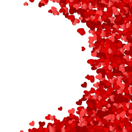 valentines card: Red hearts confetti Valentine day or Wedding vector background