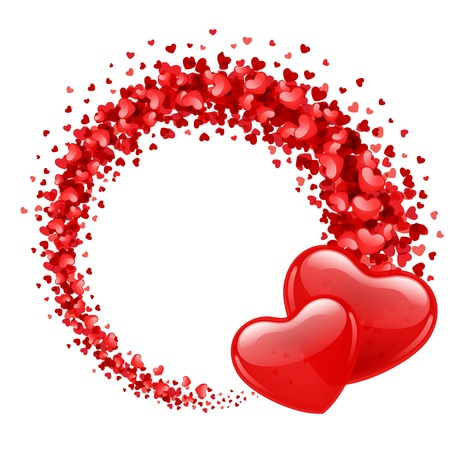 두 개의 하트와 발렌타인 데이 벡터 배경 일러스트