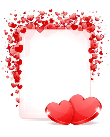 Two hearts with card frame Valentine day vector background Çizim