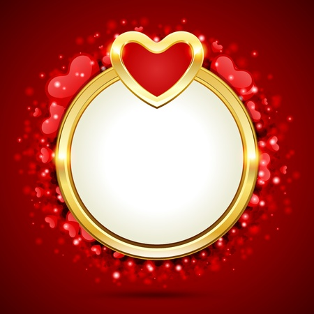 Valentine day vector background with gold heart  Illustration