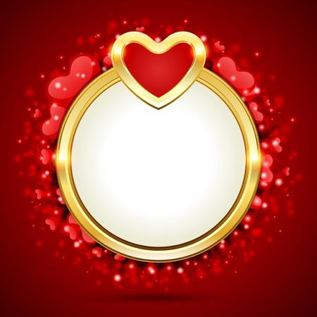 Valentijn vector achtergrond met gouden hart