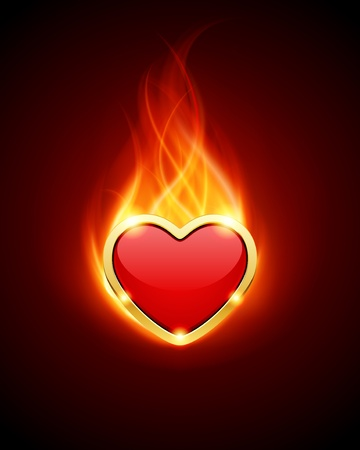 red love heart with flames: Burn heart flame fire vector background  Illustration