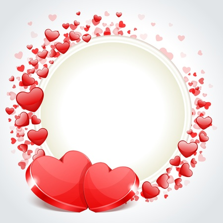Valentine day frame vector background with two hearts  Çizim