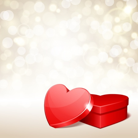 Heart gift present with light Valentine day vector background Çizim