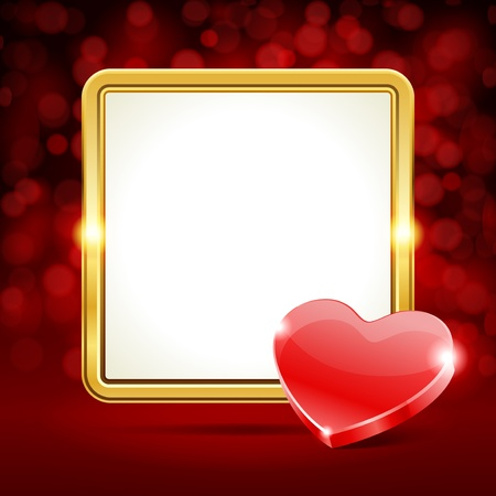 Valentine day vector background with heart gift and light  Vector