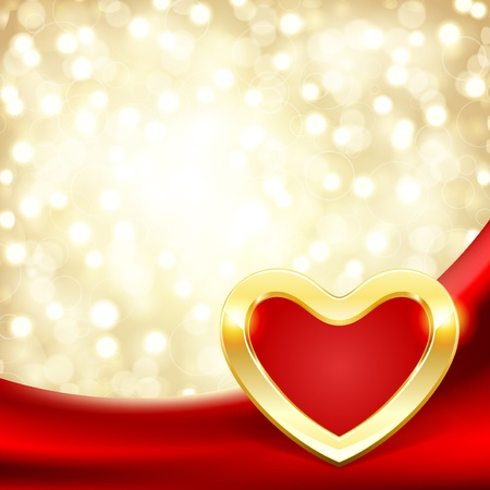 Heart on silk with light Valentine day vector background  Çizim