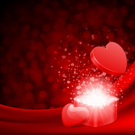 Open heart gift and flow hearts Valentine day vector background
