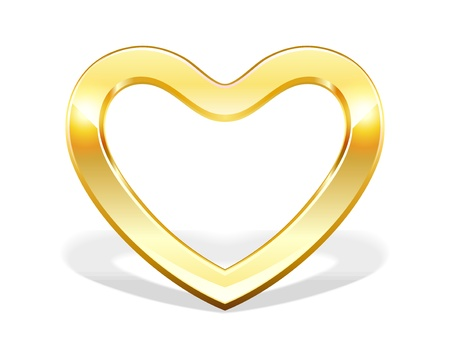 Gold heart vector illustration as design element  Vector